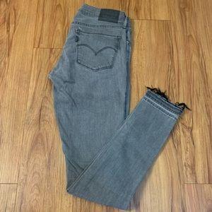 Levi's Skinny Grey Raw Hem Jeans